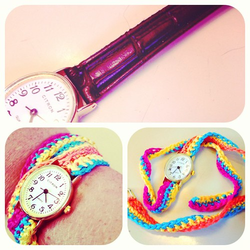 Got a cheap watch for this weekend, 1hr on the train a crochet hook and some yarn and it has a colourful new strap!