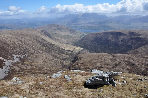 Looking down Gleann Sron a' Chreagain to the Ben