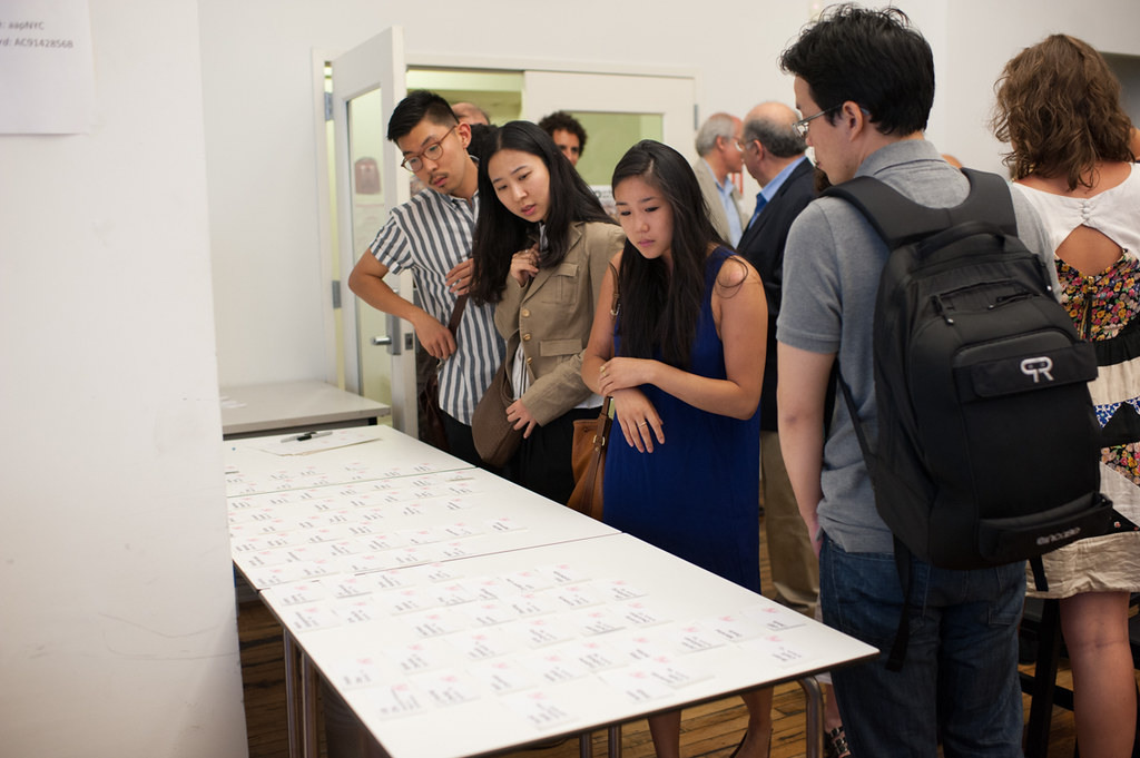 Guests view work by M.Arch.ii students from the summer session at AAP NYC.