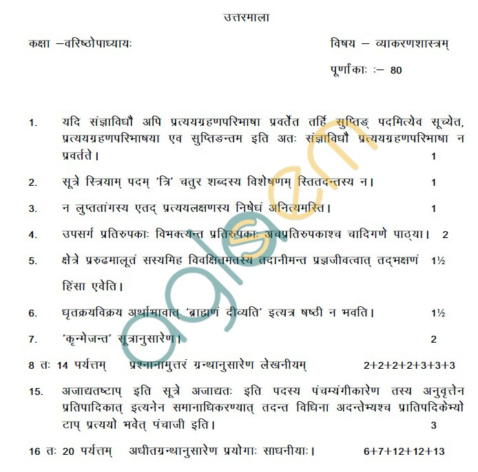 Rajasthan Board Class 12 Vyakaran Shastra Model Question Paper