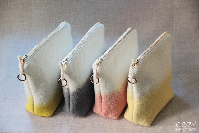 naturally dip-dyed wool pouches