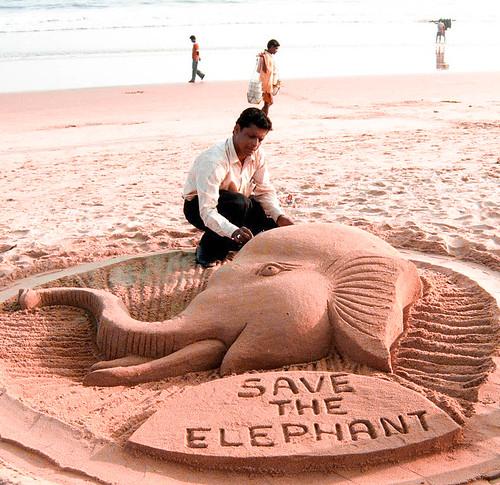 Sand Art ' Save The Elephant ' Ranjan Kumar Ganguly