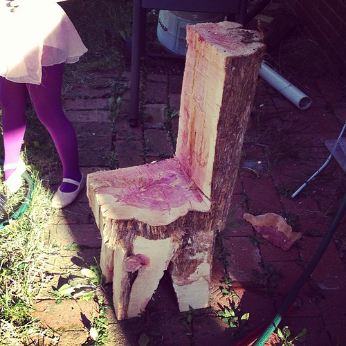 We needed a tree cut down and the man who did it turned part of it into a little chair.