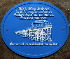 Photo of W. T. Douglas and RNLI Lifeboat Station, Tenby blue plaque