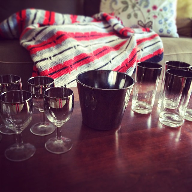 Recently thrifted at the newly opened thrift store on Washington Avenue: silver-tone wine glasses, tumblers, and ice bucket. Coming soon to the shop. #vintagesoup #isit5oclockyet #madmen