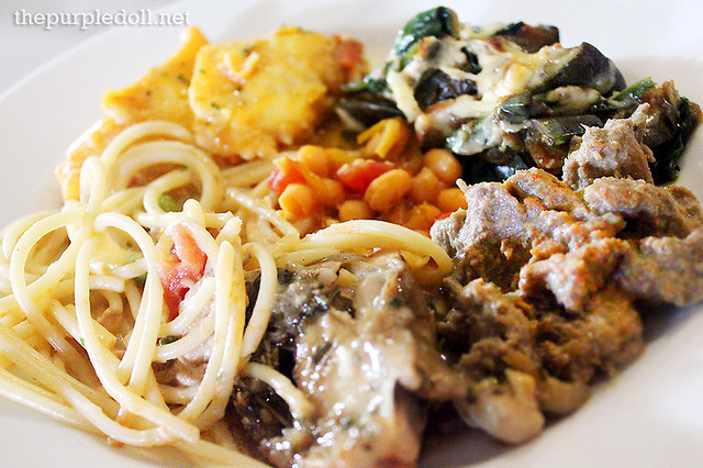 Plate #4 Creamy tuna pasta, tomato & saffron fish, cheesy baked eggplant, beef penang, and roast chicken