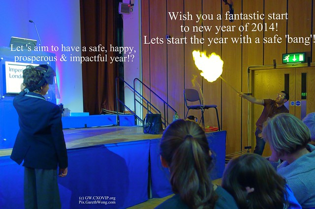 @GarethWong 's happy new year card (illustrated with capture of Dr Simon Foster @DrFozzy lighting a Hydrogen balloon at Imperial College's It's rocket science lecture for kids from RAW _DSC6638 )