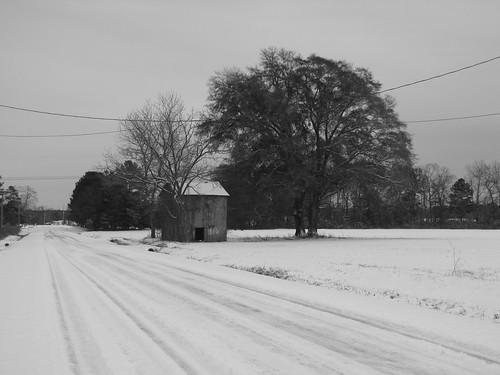 snow abandoned northcarolina tobacco tobaccobarn cumberlandcounty grayscreek hbullardroad