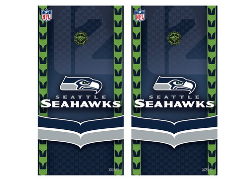 Seattle Seahawks Cornhole Game Decal Set