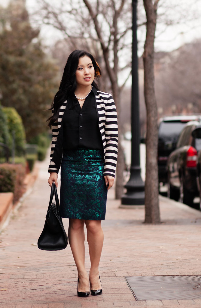 cute & little blog | pattern mixing outfit | striped blazer, floral brocade skirt, black silk shirt, pearl necklace