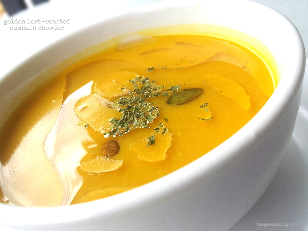 golden herb-roasted pumpkin chowder