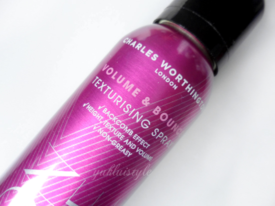 Charles Worthington Volume & Bounce Texturising Spray review and swatch