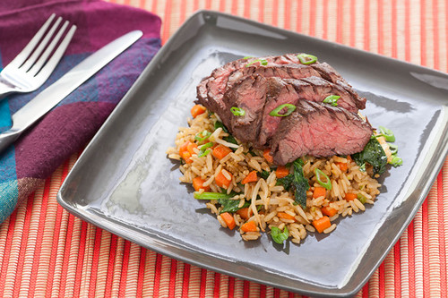 Five hanger steak with stir fry brown rice