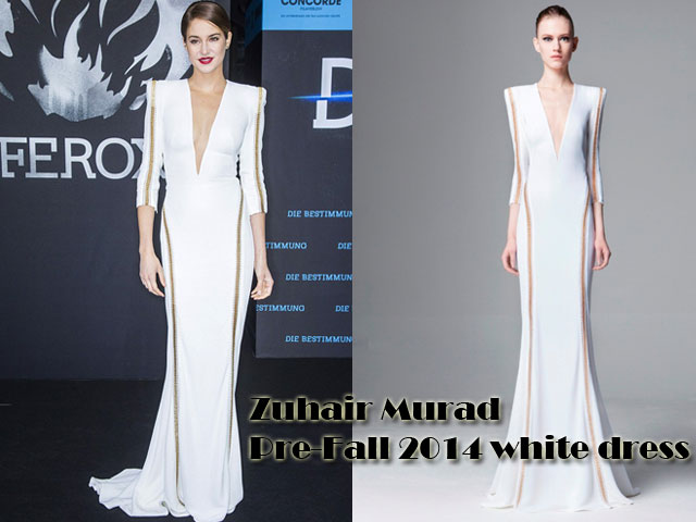 Plunging-neckline-Zuhair-Murad-Pre-Fall-2014-dress,plunging white gown, white floor-sweeping Zuhair Murad Pre-Fall 2014 gown, Zuhair Murad Pre-Fall 2014