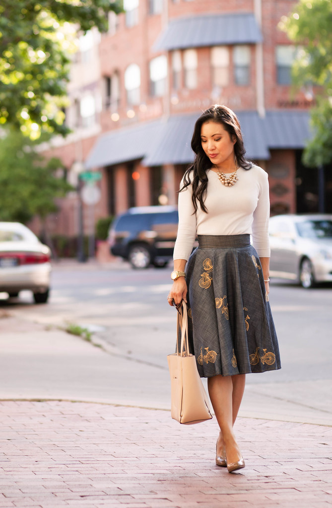 cute & little blog | petite fashion | blue bicycle printed retro skirt | spring outfit
