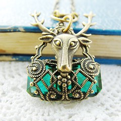 Stag Necklace With Vintage Glass Jewel