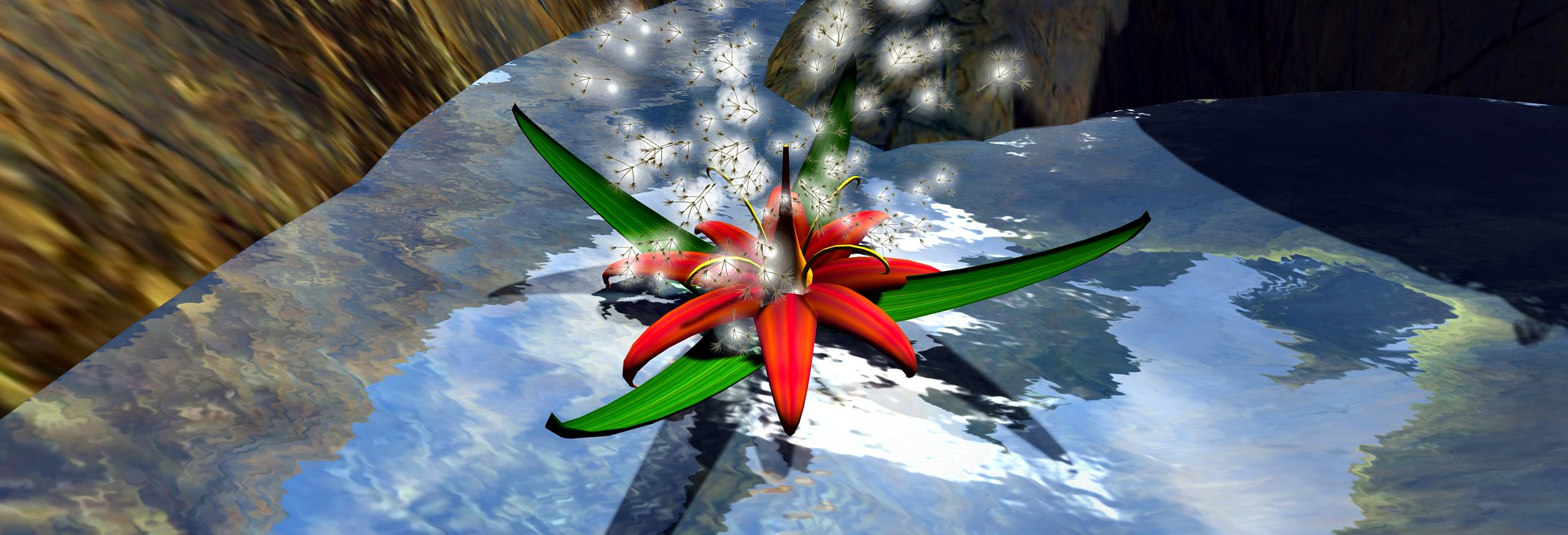 Large flower, spores burst: all prims and particles
