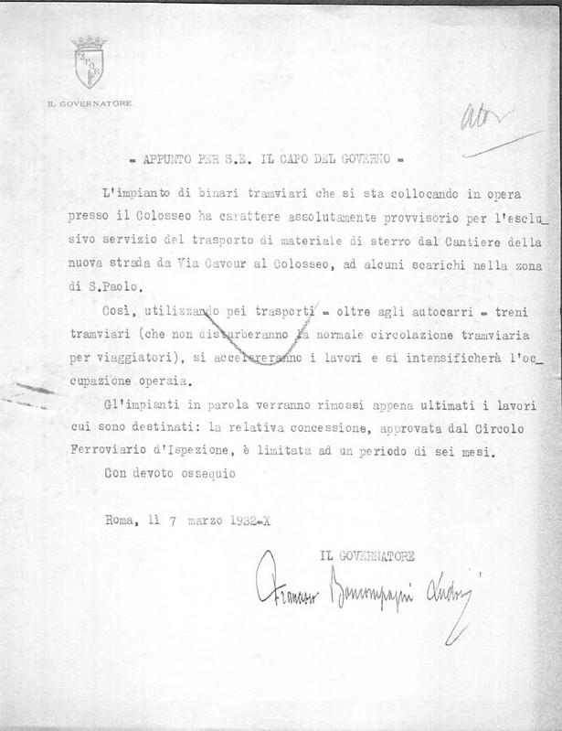 ROMA ARCHEOLOGICA &  RESTAURO ARCHITECTTURA: VIA DELL' IMPERO - LA FERROVIA SOTTO L' ARCO DI CONSTANTINO [Foto 3 =  1 di 3] (c. 1932[?]).
