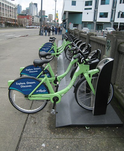 Seattle Pronto! Bike Sharing station on Alaska Way