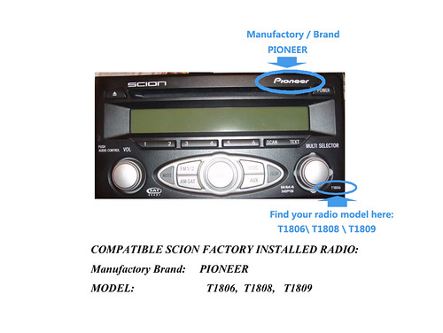 Scion XA XB tC xD PIONEER Headunit to iPod iPhone