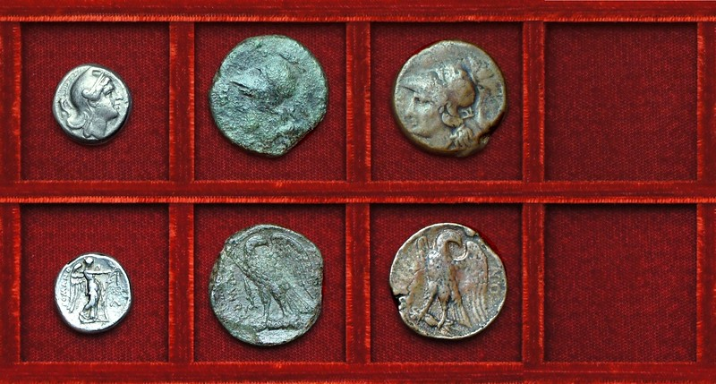 RRC 022 Diana Victory didrachm, RRC 23 Minerva Eagle bronzes, Ahala collection coins of the Roman Republic