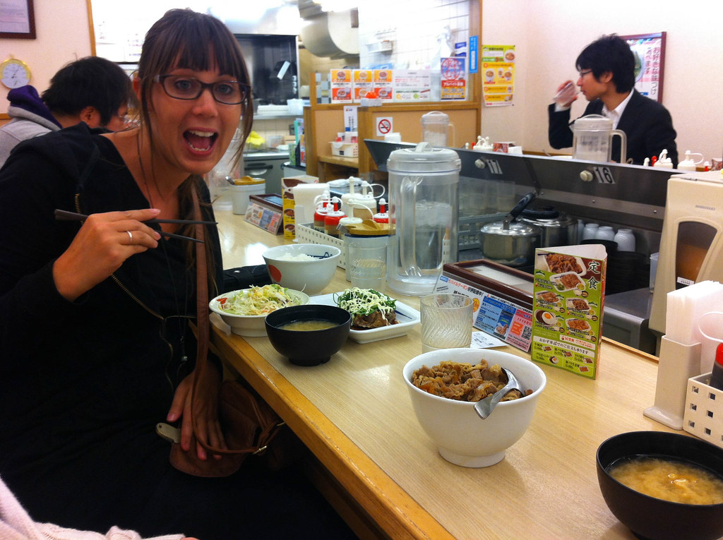 Eating at Beef Bowl. Only 270 Yen for a set meal!