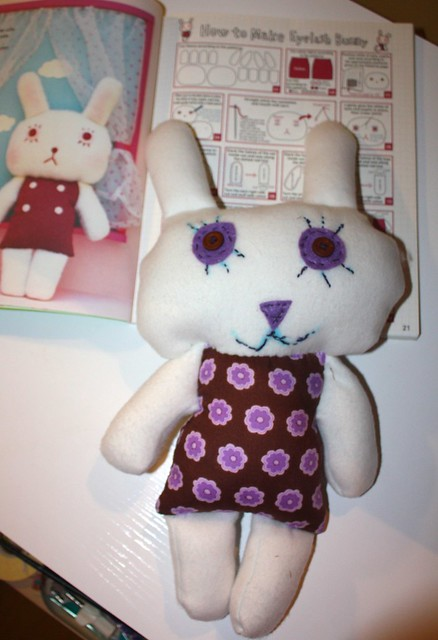 T's bunny is happier than the pattern called for.