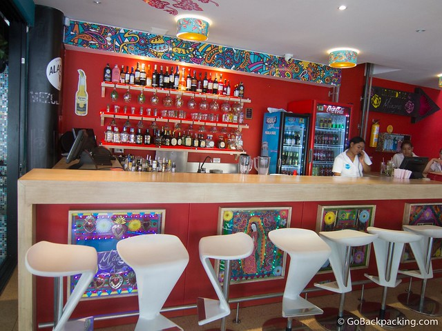 A closer look at the colorful bar