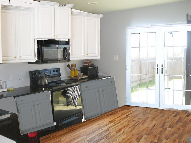 French Doors In The Kitchen Black Or White What The Vita - Gray lower cabinets