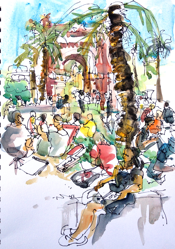 Sketchcrawl at Arc de Triomf, Barcelona