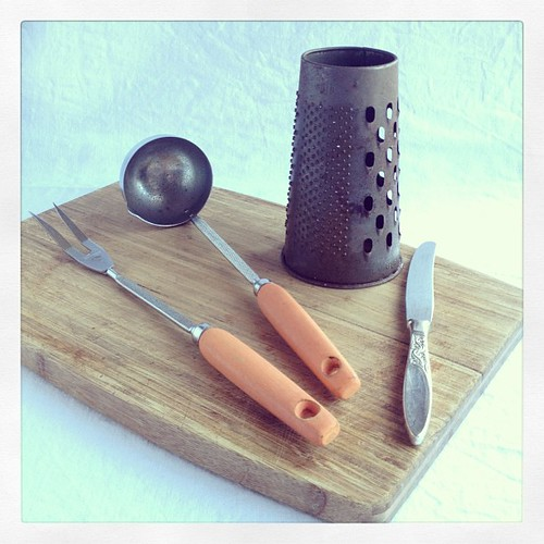 #oppshopobsession 1 of 2 - fork, ladle & board - church sale Port Macquarie; grater -old wares shop somewhere on North Coast Pacific Hwy; knife - Byron Bay