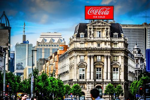 De Brouckere with Coca-Cola Sign - Brussels Belgium