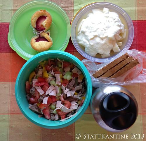 Stattkantine 23. Juli 2013 - Rindfleischsalat, Joghurt mit Birnen, Apfelsaft
