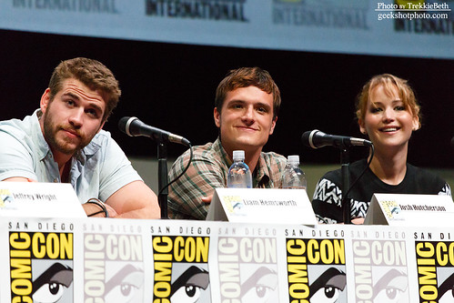 Liam Hemsworth, Josh Hutcherson, and Jennifer Lawrence