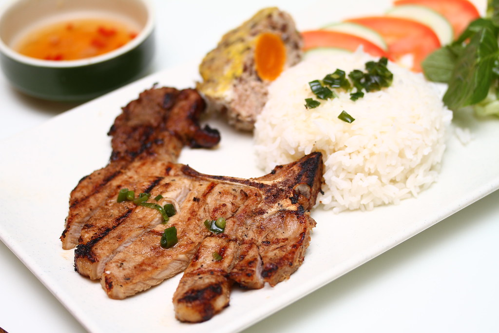 Wrap & Roll: Grilled pork chop rice with salted egg pudding