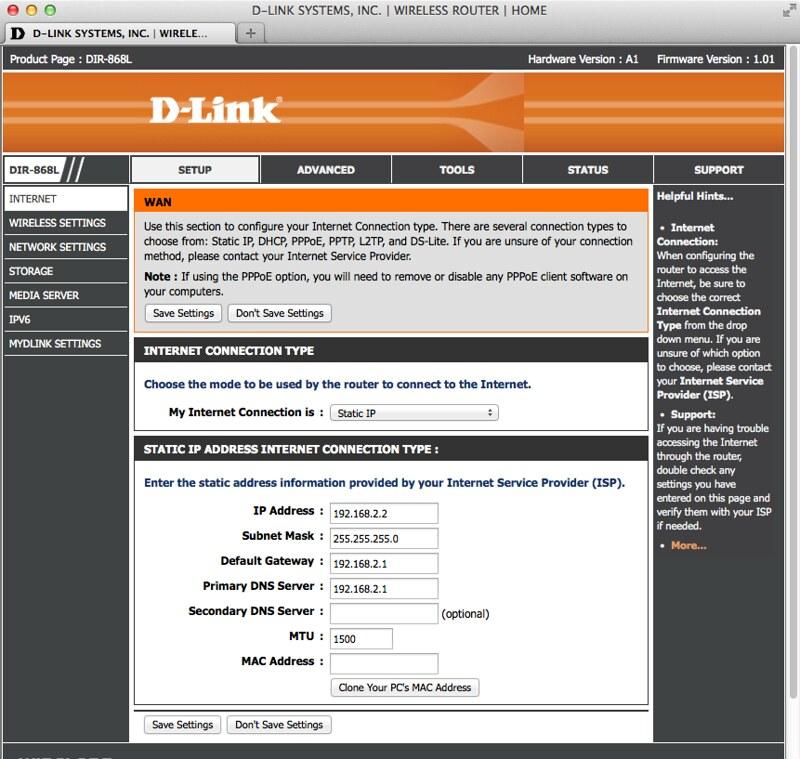 D-Link DIR-868L - Internet Setup