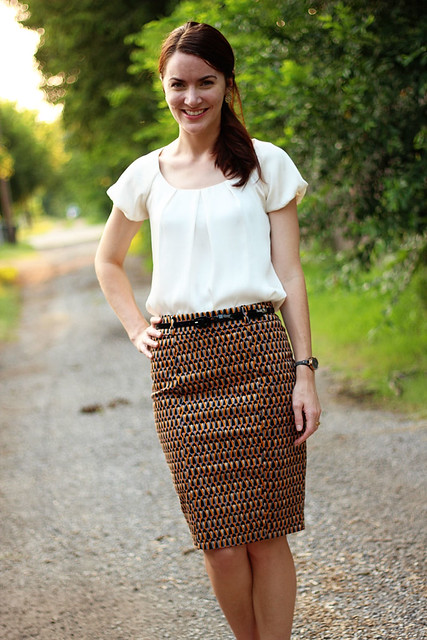 patterned-pencil-skirt-silk-blouse-2
