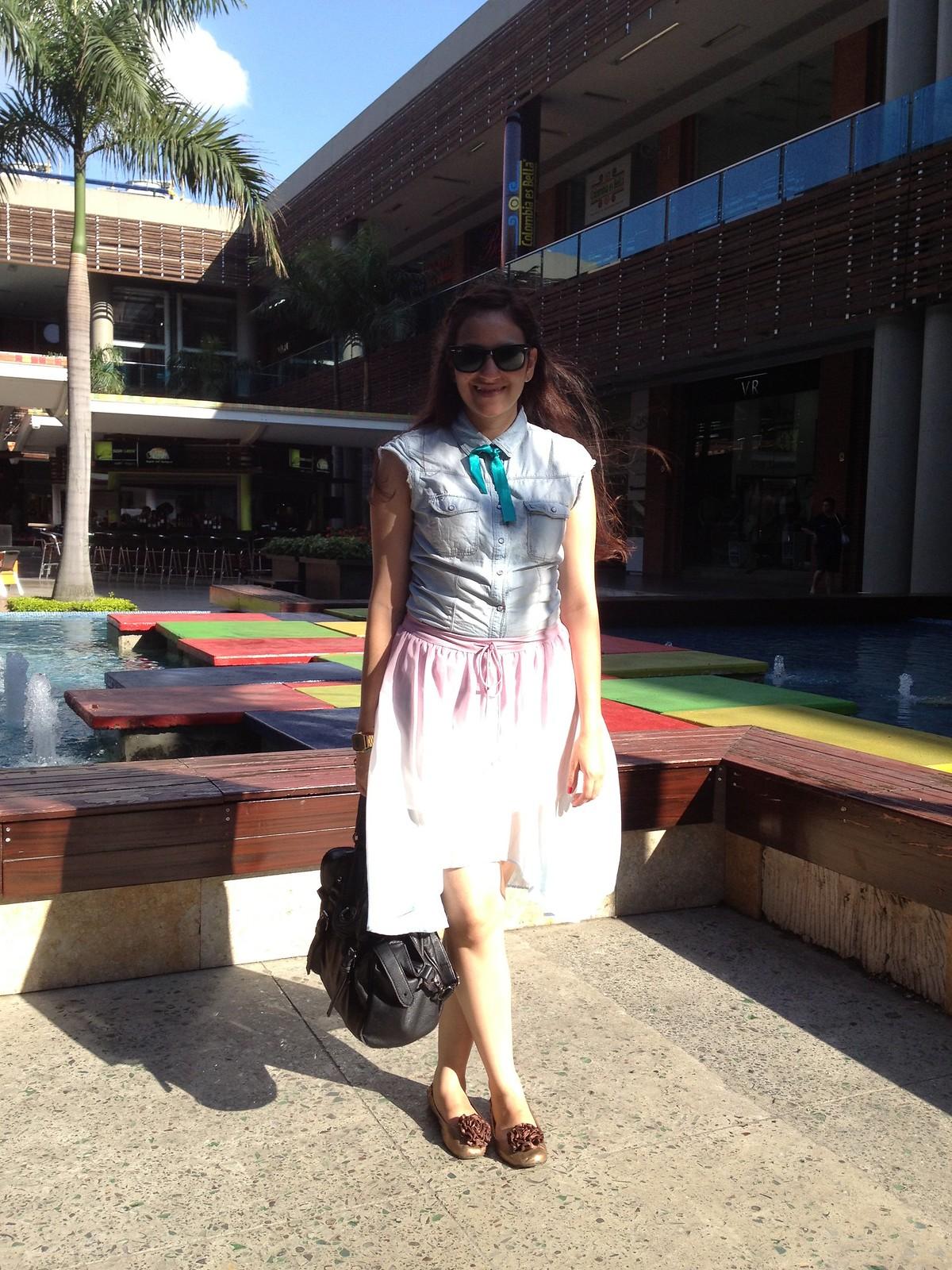 denim and mullet skirt