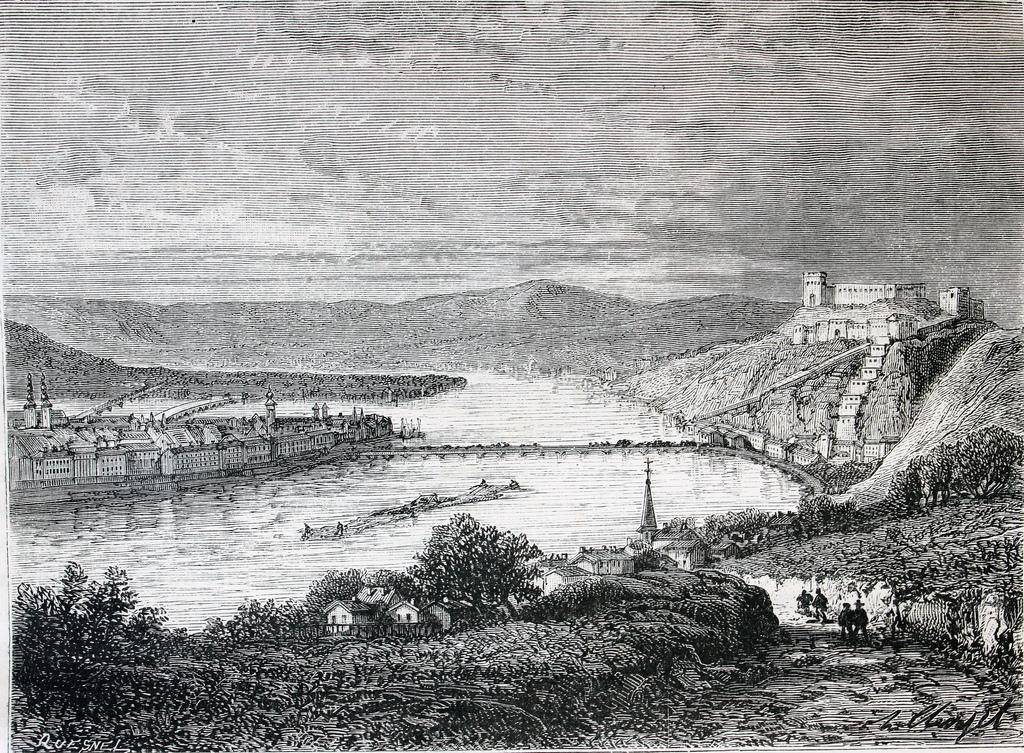 21. El Rin a su paso por Coblenza. Grabado de Jouvet Furne. 1873-77. Autor, El Bibliomata