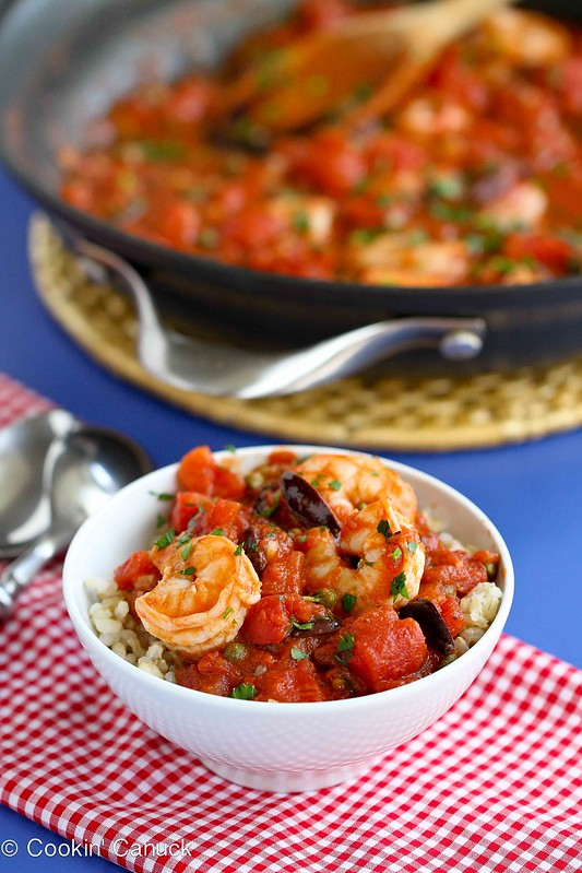 Shrimp Puttanesca Rice Bowl Recipe with Capers & Tomatoes | cookincanuck.com #shrimp #rice