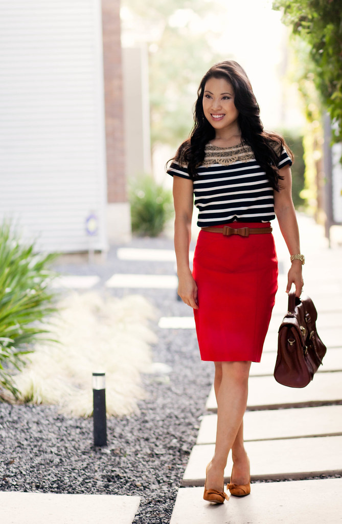 ann taylor lace stripe top, red pencil skirt, sole society elisa suede bow pump, alexa bag look-a-like, outfit #ootd | petite fashion
