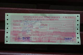 Bilhete de ida do barco Guiana Suriname