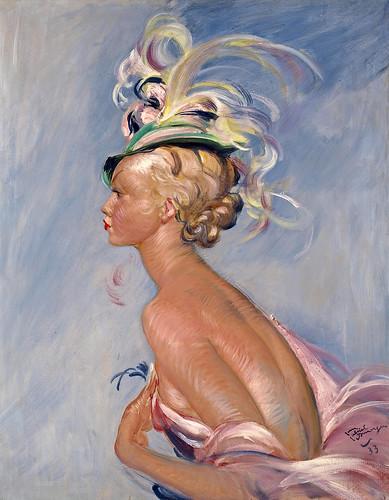 022-Señora elegante con un sombrero con plumas. 1933-Jean Gabriel Domergue