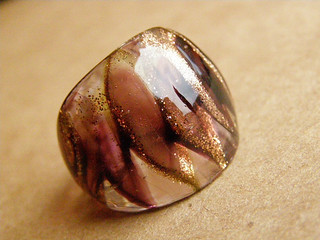 Glass ring. Murano glass - burgundy and gold 2