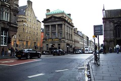 Old classical style bank on the Golden Mile in Edinburgh is now a hotel.