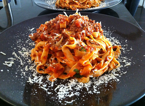 Handmade pasta with bolognese sauce