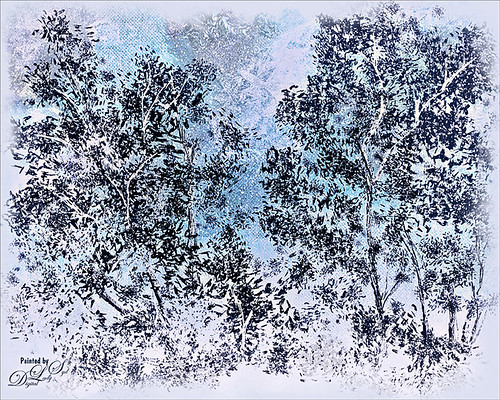 Image of some wintry trees painted in a workshop by Melissa Gallo