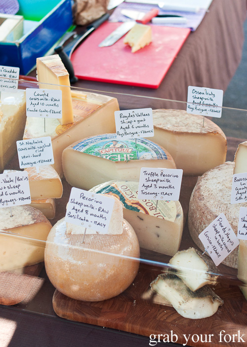 Italian and French cheeses at Frenchs Forest Organic Food Market