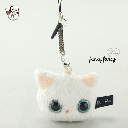 36.療癒貓臉手機吊飾+螢幕擦拭布-白貓