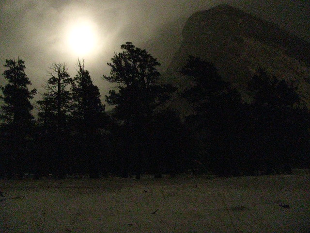 Banff in the dark - looking at Mount Rundle.
